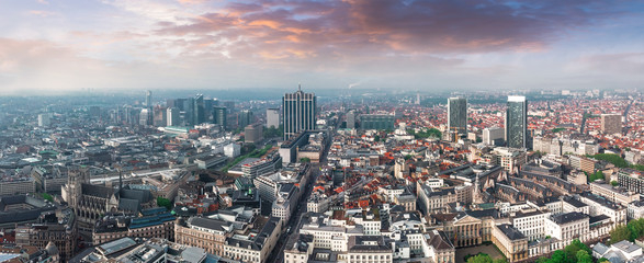 Spoed Fotobehang Brussel Aerial view of central Brussels, Belgium
