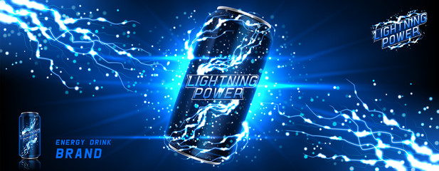 Energy drink can template. Vector illustration with energy drink can isolated on transparent background. Realistic 3d illustration.