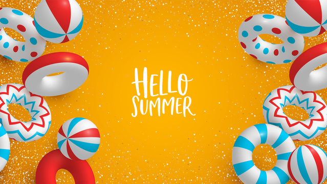 Holiday Summer background of 3d lifesavers and balls