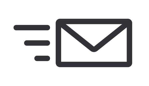 Sending mail message letter icon line art vector illustration