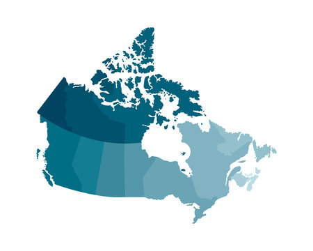 Vector isolated illustration of simplified administrative map of Canada. Borders of the regions. Colorful blue khaki silhouettes