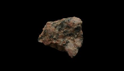 Pink Granite Rock isolated on black