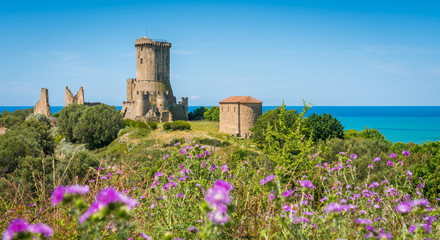 Ruins of the ancient city of Velia with the sea in the background, near Ascea, Cilento, Campania, southern Italy. Wall mural