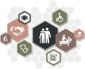 care / nursing vector illustration: domestic healthcare, patient care, household help