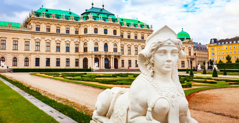 Wall Mural - Belvedere palace and sphinx statue in Vienna