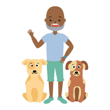 african american man and pets