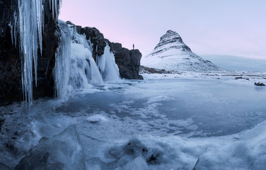 Kirkjufell waterfall with mountain in winter, Iceland, Europe