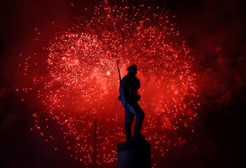 Fireworks explode during celebrations of the Victory Day in Moscow