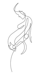 Deurstickers One Line Art Pregnant Woman One Continuous Line Vector Graphic