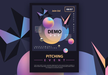 Dark Futuristic Flyer Layout with Colorful Gradient 3D Geometric Accents