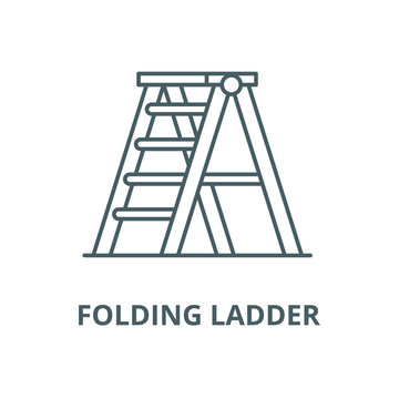 Folding ladder vector line icon, outline concept, linear sign