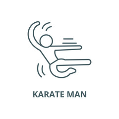 Karate man vector line icon, outline concept, linear sign
