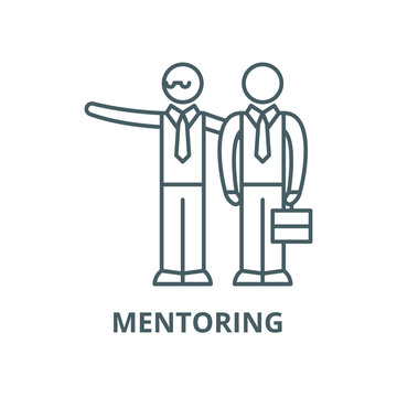 Mentoring vector line icon, outline concept, linear sign