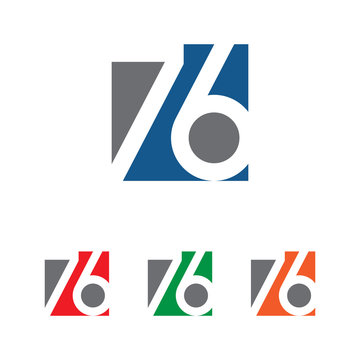 76 number logo square vector