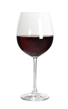 Glass of delicious expensive red wine on white background