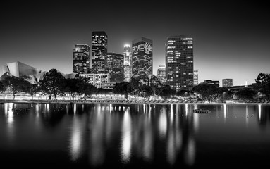 Black and white photo of downtown Los Angeles at night