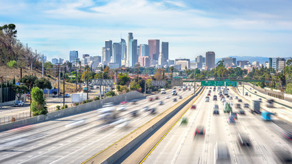 Los Angeles City Freeway Traffic At Sunny Day Fototapete