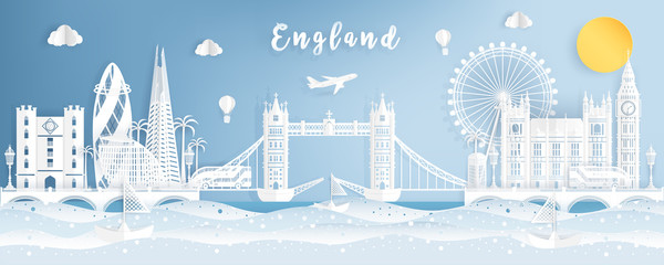 Famous Travel Landmark and Attraction in England, Postcard, Poster, Banner, Cover Image, Advertising Template, Object and Element in Paper Cut and Origami Style Panorama Background Vector Illustration Wall mural