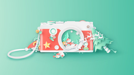 Illustration of creative design for Christmas with decorations inside compact camera lens. Graphic design for Christmas. Compact camera design for Christmas. paper cut and craft design. vector.