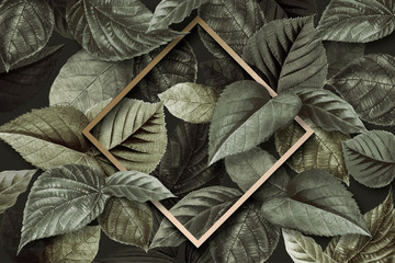 Forest leaf frame Wall mural