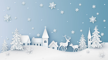 Winter landscape of snowy countryside and deer. Merry Christmas and Happy New Year. paper cut and craft design. vector, illustration. Fototapete
