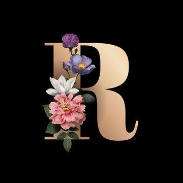 Floral letter R font