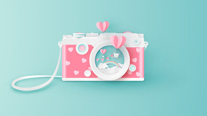Compact camera design for Valentine's day with heart shape hot air balloons float out of the lens. Abstract of compact camera for Valentine's day. paper cut and craft style. vector, illustration.