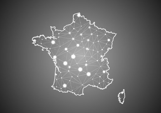 Vector wireframe mesh polygonal of france map. Abstract global connection structure. Map connected with lines and dots. Geometric world concept.  digital data visualization, infographics.