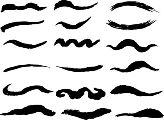 Black Winding line drawn with a brush set