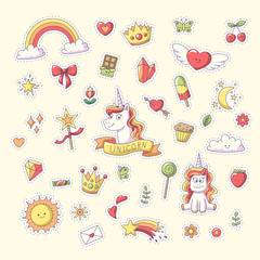 Unicorn Sticker with heart, clouds, rainbow, sun, moon and more. Set of cute cartoon characters. Vector collection for stickers, patches, badges, pins. Hand drawn style doodle