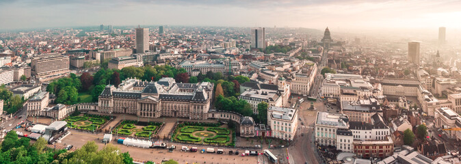 Spoed Fotobehang Brussel Panoramic aerial view of the Royal Palace Brussels, Belgium