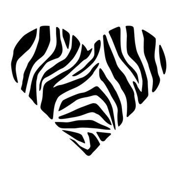 Zebra skin in shape of heart. Trendy animal print. Fashion vector illustration.