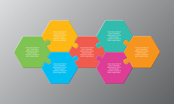 Seven piece puzzle jigsaw hexagonal info graphic