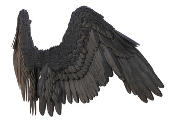 3D Rendered Black Fantasy Angel Wings on White Background - 3D Illustration