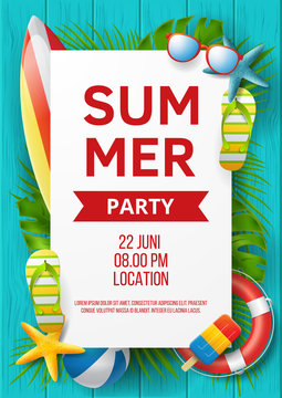 Summer party poster vector design with colorful beach elements. Vector illustration