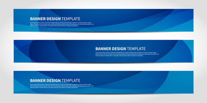 Vector banners with abstract geometric blue background