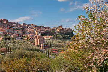 Chianciano Terme, Siena, Tuscany, Italy: landscape at spring of the ancient hill town