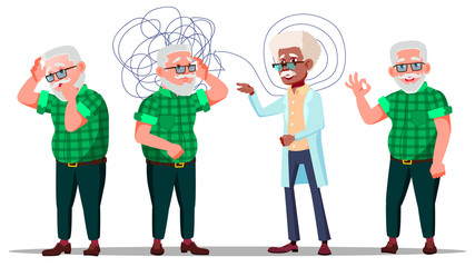 Therapist Conduct Psychotherapy Counseling Vector. Old Man Patient With Depression On Reception Be Therapist. Treatment Of Stress, Addictions And Mental Problems. Flat Cartoon Illustration