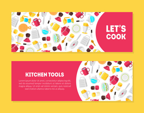 Lets Cook, Kitchen Tools Banner Templates Set with Place for Text and Cooking Utensils Pattern, Design Element Can Be Used for Card, Label, Invitation, Certificate Colorful Vector Illustration