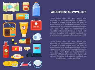 Wilderness Survival Kit Banner Template with Place for Text, Travel Necessities, First Aid Kit, Map, Canned Food, Phone, Rope, Compass, Bottle of Water, Radio, etc. Vector Illustration