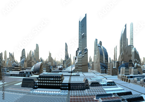 3D Rendered Futuristic City Skyline on White Background - 3D