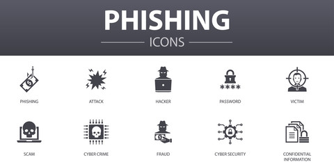 phishing simple concept icons set. Contains such icons as attack, hacker, cyber crime, fraud and more, can be used for web, logo, UI/UX - fototapety na wymiar