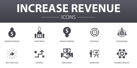 increase revenue simple concept icons set. Contains such icons as Raise prices, reduce expenses, best practices, strategy and more, can be used for web, logo, UI/UX