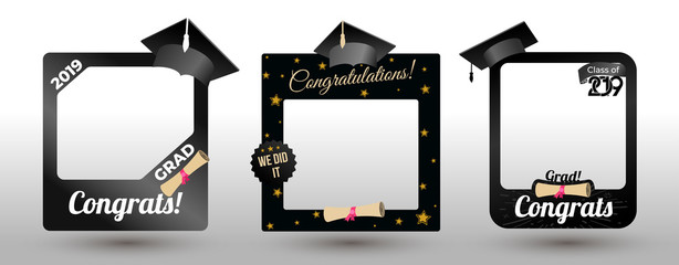 Set of graduation party photo booth props. Concept for selfie. Frame with cap for grads. Photobooth vector element. Congradulation grad quote. Vector illustration. Isolated on white background.