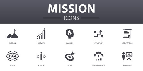 mission simple concept icons set. Contains such icons as growth, passion, strategy, performance and more, can be used for web, logo, UI/UX