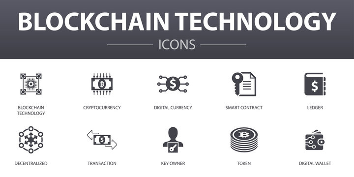 blockchain technology simple concept icons set. Contains such icons as cryptocurrency, digital currency, smart contract, transaction and more, can be used for web, logo, UI/UX