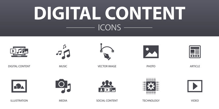 digital content simple concept icons set. Contains such icons as vector image, media, video, social content and more, can be used for web, logo, UI/UX
