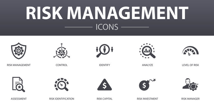 risk management simple concept icons set. Contains such icons as control, identify, Level of Risk, analyze and more, can be used for web, logo, UI/UX