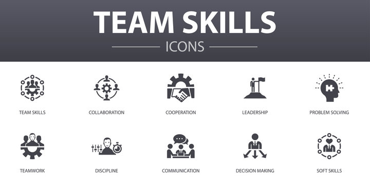 team skills simple concept icons set. Contains such icons as Collaboration, cooperation, teamwork, communication and more, can be used for web, logo, UI/UX
