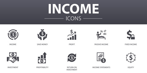 Income simple concept icons set. Contains such icons as save money, profit, investment, profitability and more, can be used for web, logo, UI/UX